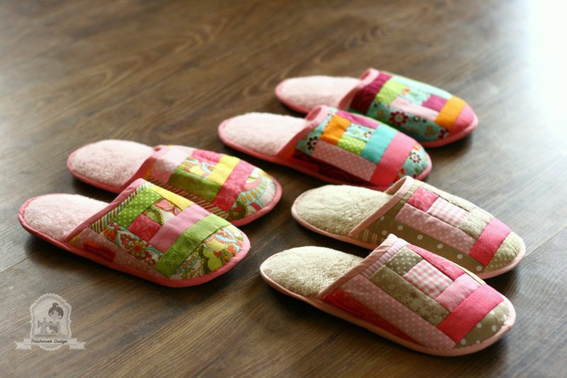 Csajos szobai papucs quilt-as-you-go technikával