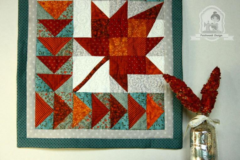 Vörös juhar patchwork terítő